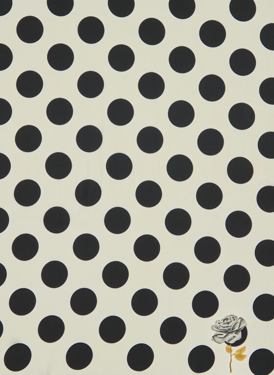 Polka Dot Print Lightweight Scarf, Black