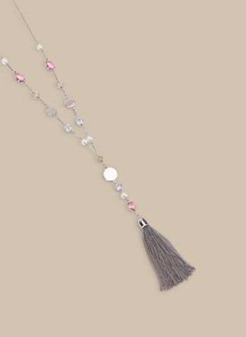 Crystal Detail Y-Necklace, Silver,  spring summer 2020, chain tassel, crystal