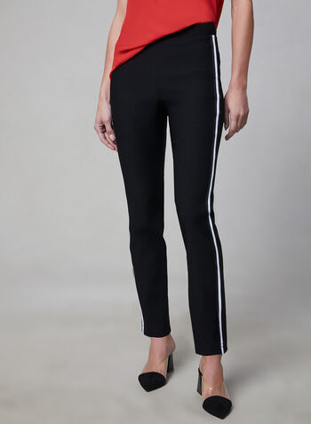 Contrast Trim Pull-On Pants, Black, hi-res