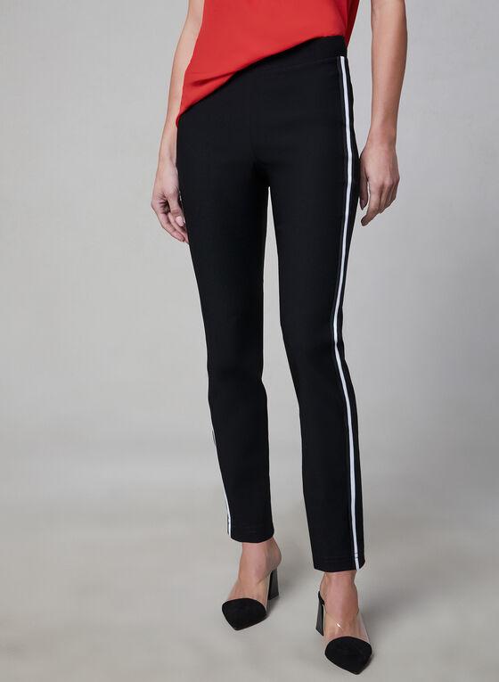 Contrast Trim Pull-On Pants, Black, hi-res