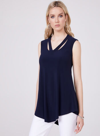 Joseph Ribkoff - Mock Neck Sleeveless Top, Blue, hi-res