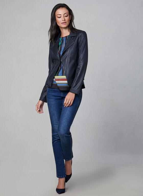 Vex - Zipper Trim Fitted Jacket , Blue