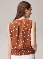 Dotted Print Smocked Hem Blouse, Brown