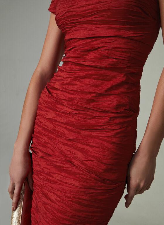 Alex Evenings - Robe fourreau en taffetas plissé, Rouge