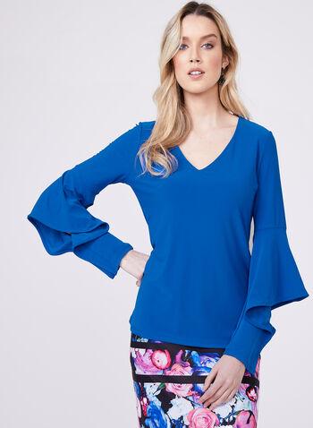 Angel Sleeve Crepe Top, Blue, hi-res