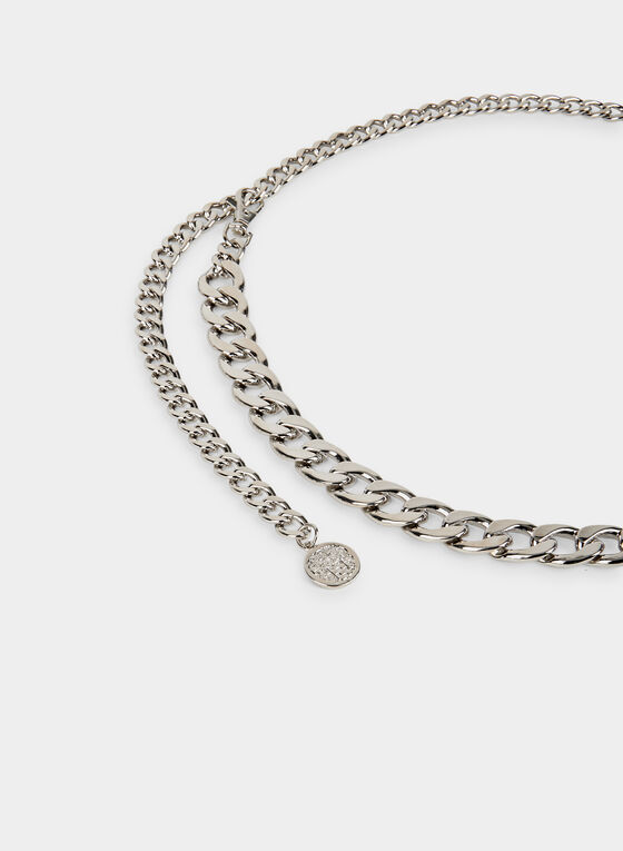 Metallic Chain Belt, Silver, hi-res