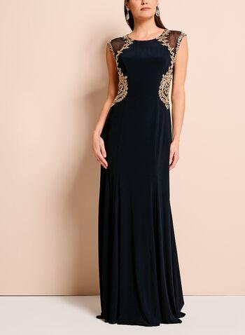 Embellished Mesh Trim Jersey Dress, , hi-res