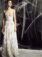 Cachet - Glitter Embellished Tulle Gown, White, hi-res