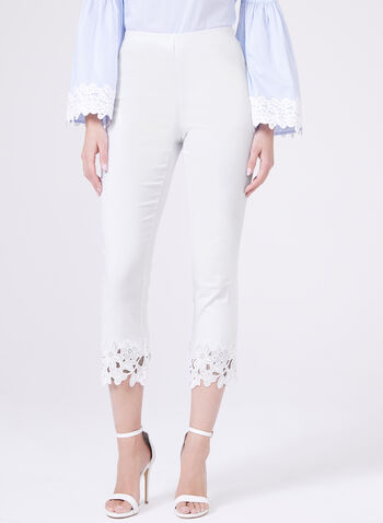 Embroidered Trim Pull-On Capris, White, hi-res