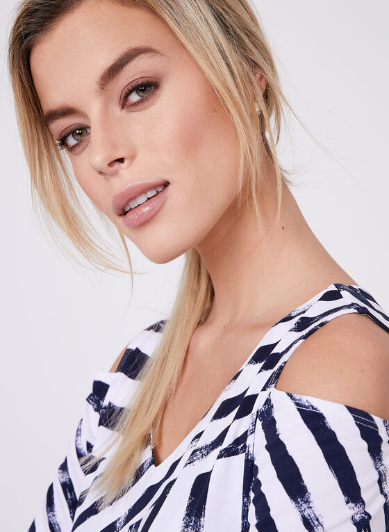 Compli K - Stripe Print Cold Shoulder Top, Blue, hi-res