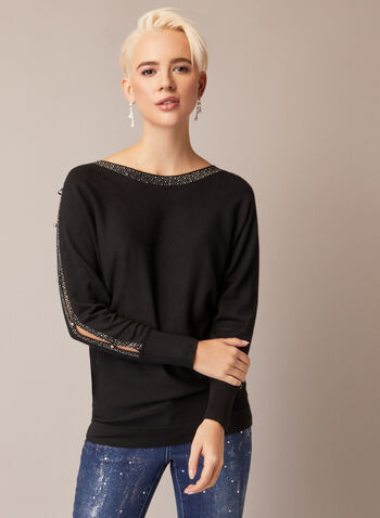 Rhinestone Peekaboo Sleeve Pullover, Black,  fall winter 2020, pullover, sweater, knit, long sleeve, peekaboo, crystal detail, rhinestone
