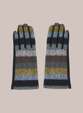Multicolour Striped Gloves, Brown,  Fall winter 2020, gloves, lycra, polyester, multicoloured