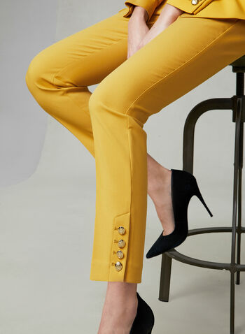 Button Detail Slim Leg Pants, Yellow, hi-res