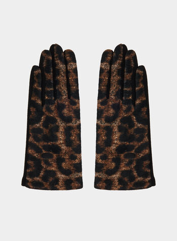 Leopard Print Gloves, Brown,  gloves, leopard print, fall 2019, winter 2019