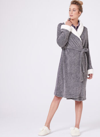 Kathy Ireland - Contrast Trim Dressing Gown , Grey, hi-res