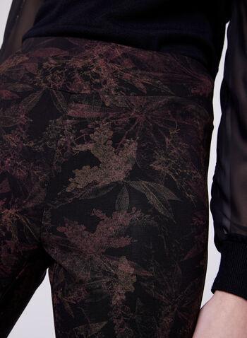 Pull-On Straight Leg Leaf Print Pants, , hi-res