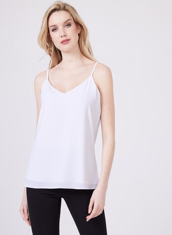 Sleeveless Crepe Camisole, White, hi-res