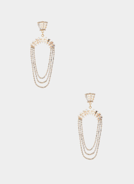 Crystal Dangle Earrings, Gold, hi-res