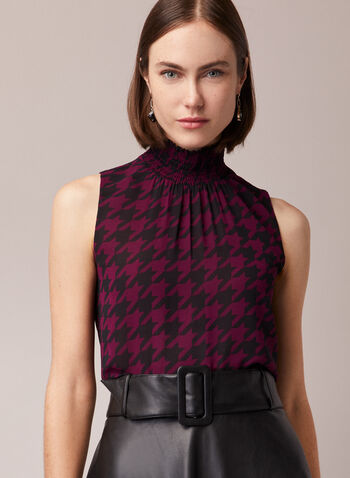 Houndstooth Print Sleeveless Blouse, Purple,  blouse, houndstooth, smocked, mock neck, sleeveless, chiffon, keyhole, fall winter 2020