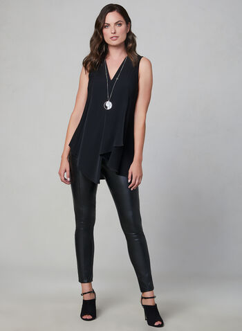 Sleeveless Tunic Blouse, Black, hi-res,  sleeveless, jersey, asymmetric, fall 2019, winter 2019