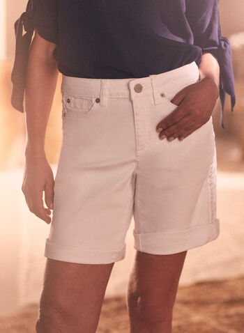 Embroidered Detail Denim Shorts, White,  shorts, buttons, embroidered details, denim, pockets, spring summer 2020