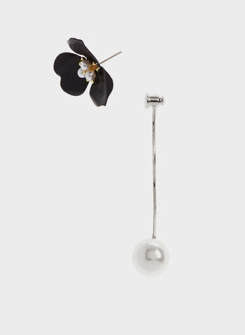 Flower Pearl Drop Earrings, Black, hi-res