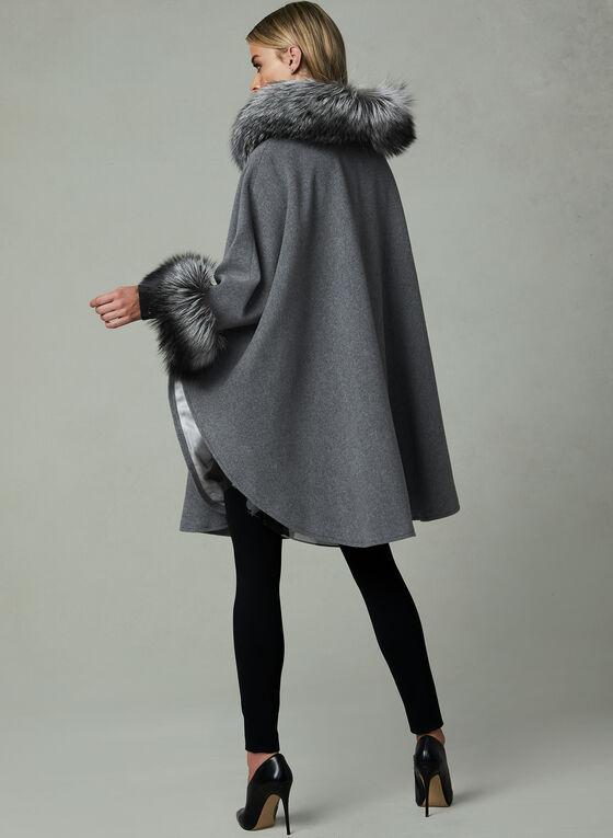Mallia - Cape en laine avec capuchon et fourrure, Gris, hi-res
