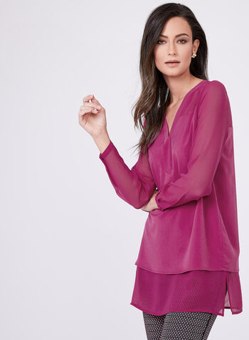 Illusion Sleeve Double Layer Blouse, Purple, hi-res