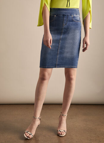 Joseph Ribkoff - Pull-On Denim Skirt, Blue,  jeans, denim, skirt, jean skirt, denim skirt, pull-on, spring 2020, summer 2020