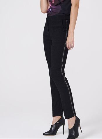 Pantalon brodé à jambe étroite et détail chaîne, Noir, hi-res