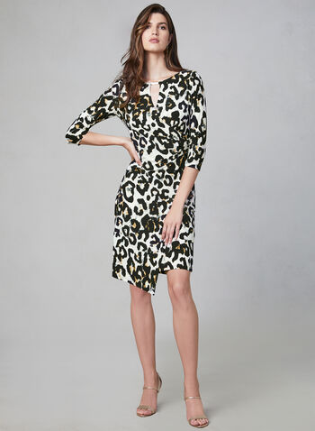 Frank Lyman - Leopard Print Dress, Brown, hi-res,  fall 2019, winter 2019, sheath, animal print, faux wrap, stretchy, ¾ sleeves, 3/4 sleeves