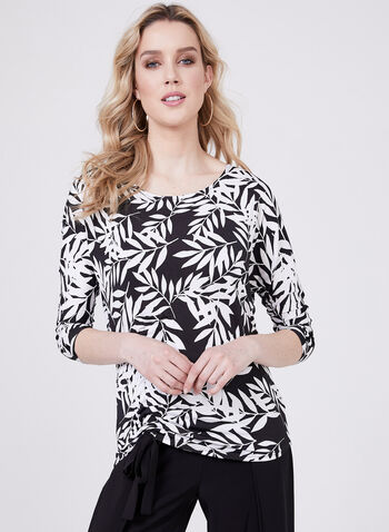 Dolman Sleeve Tie Detail Top, Black, hi-res