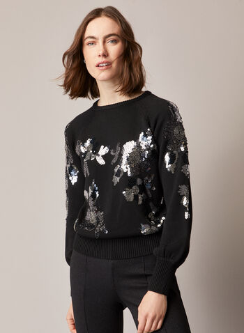 Sequin Embellished Sweater, Black,  sweater, knit, sequin, long sleeves, fall winter 2020