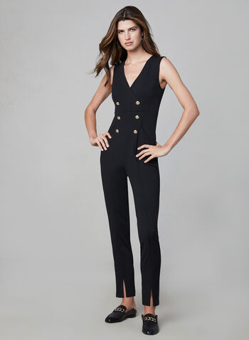 Joseph Ribkoff - Gold Button Jumpsuit, Black, hi-res,  jumpsuit, gold buttons, front pockets, crepe fabric, gold buttons on bodice, sleeveless, fall 2019, winter 2019