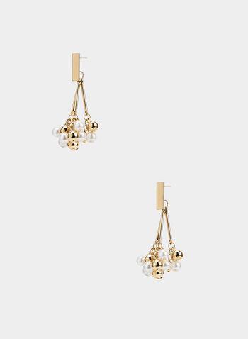 Boucles d'oreilles pendants en perles , Blanc cassé,  boucles d'oreilles, perles, billes, automne hiver 2019