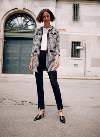 Joseph Ribkoff - Tweed Cardigan, White,  spring summer 2021, joseph ribkoff, top, cardigan, sweater, jacket, 3/4 sleeves, pattern, print, tweed, houndstooth, open front, pearls, pockets, slit, made in canada
