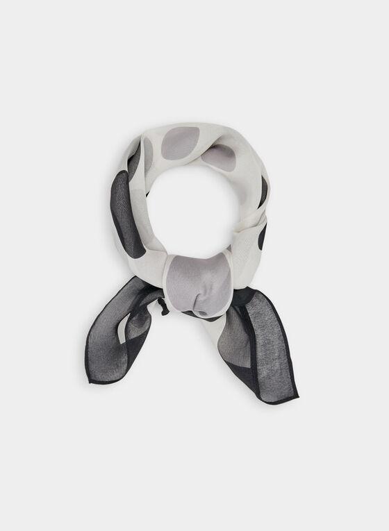 Dot Print Silk Scarf, Black, hi-res