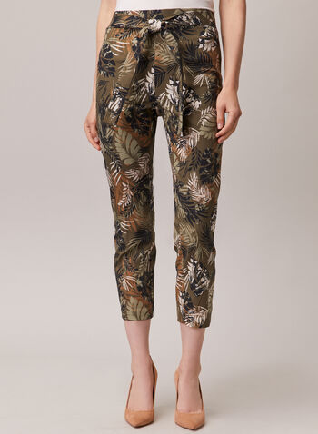 Chapter One - Tropical Print Pull-On Capris, Green,  capris, pull-on, tropical, bengaline, slim leg, tie belt, spring summer 2020