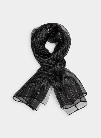 Foulard métallisé en soie, Noir, hi-res,  foulard, soie, fibres métallisées, automne hiver 2019