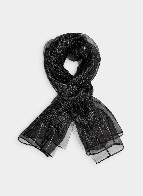 Foulard métallisé en soie, Noir, hi-res
