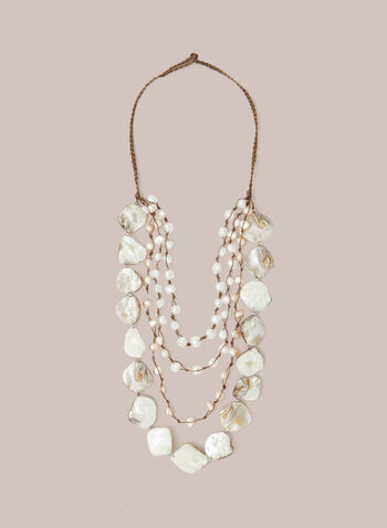 Pearl & Seashell Necklace, Off White,  necklace, pearls, seashells, rope, spring summer 2020