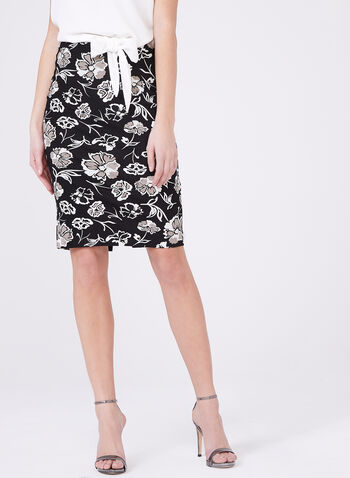 Ponte de Roma Zipper Pencil Skirt, Black, hi-res