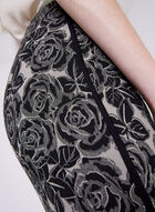 Pull-On Floral Print Pencil Skirt, Black, hi-res