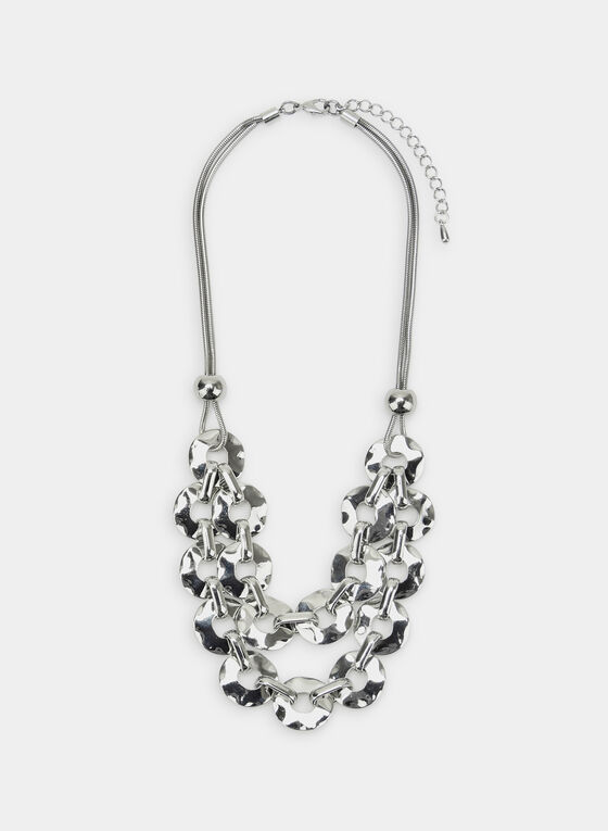 Double Chain Bib Necklace, Silver, hi-res