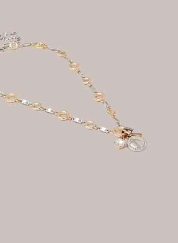 Collier deux tons à breloques, Jaune,  automne hiver 2020, collier, chaîne, breloques, bijou, accessoire, deux tons