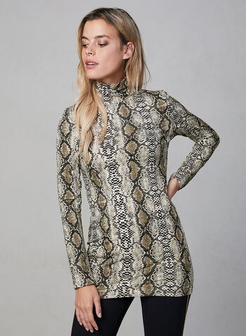 Alison Sheri - Snakeskin Print Turtleneck, Brown,  Alison Sheri, top, turtleneck, snakeskin print, long sleeves, fall 2019, winter 2019