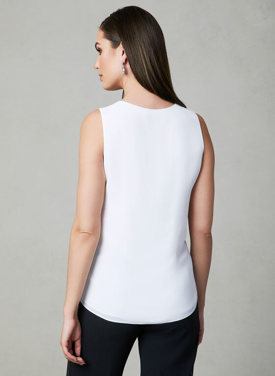 Ruffle Crepe Top, Off White, hi-res