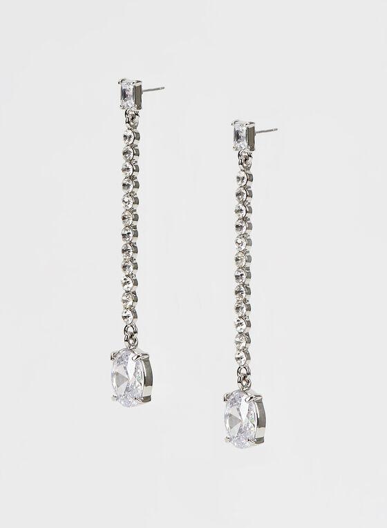 Crystal Dangle Earrings , Silver, hi-res