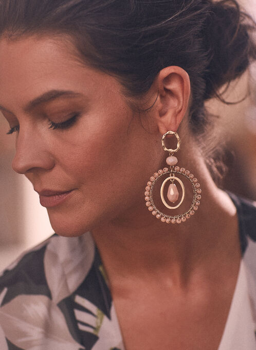 Boucles d'oreilles à perles , Rose