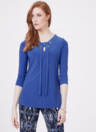 Grommet Detail Lace Up Blouse, Blue, hi-res